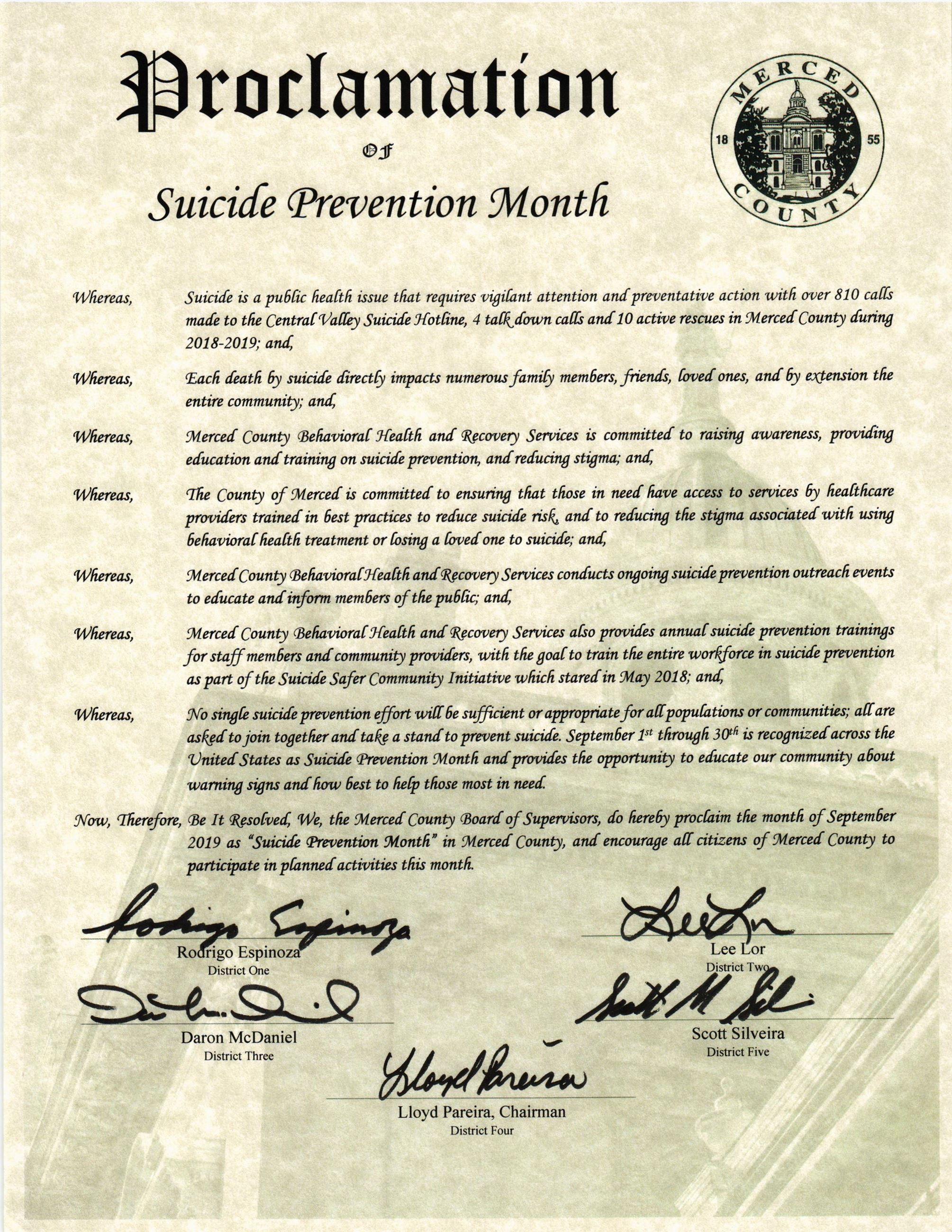 Suicide Prevention Week Proclamation 2019